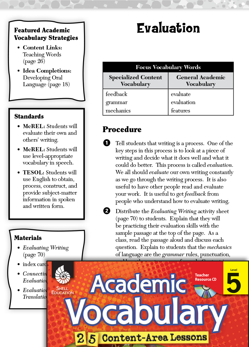 Evaluation Academic Vocabulary Level 5 Teachers