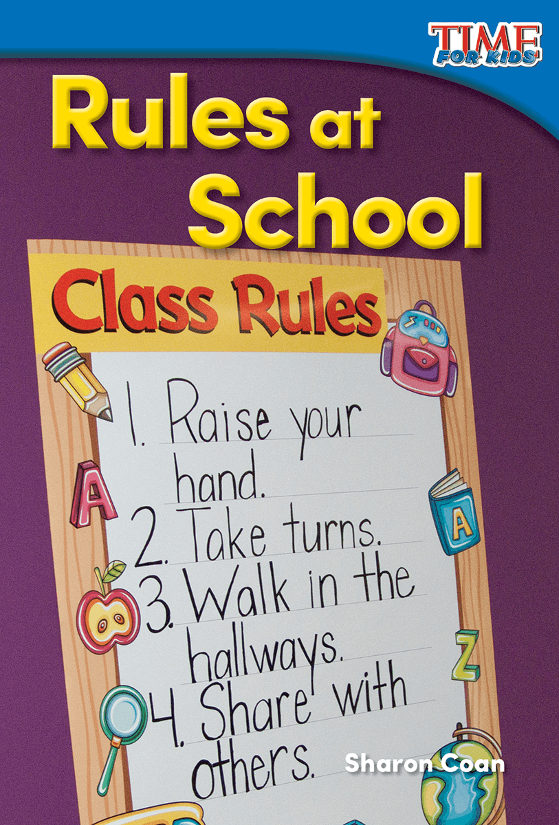 the important rules to observe in school or at work Tell them to follow the rules and laws by driving on the correct side of the street and stopping at the stop sign then introduce a few students into the scene who are not following the laws they can drive on the wrong side of the road and ignore the stop sign and speed limit.