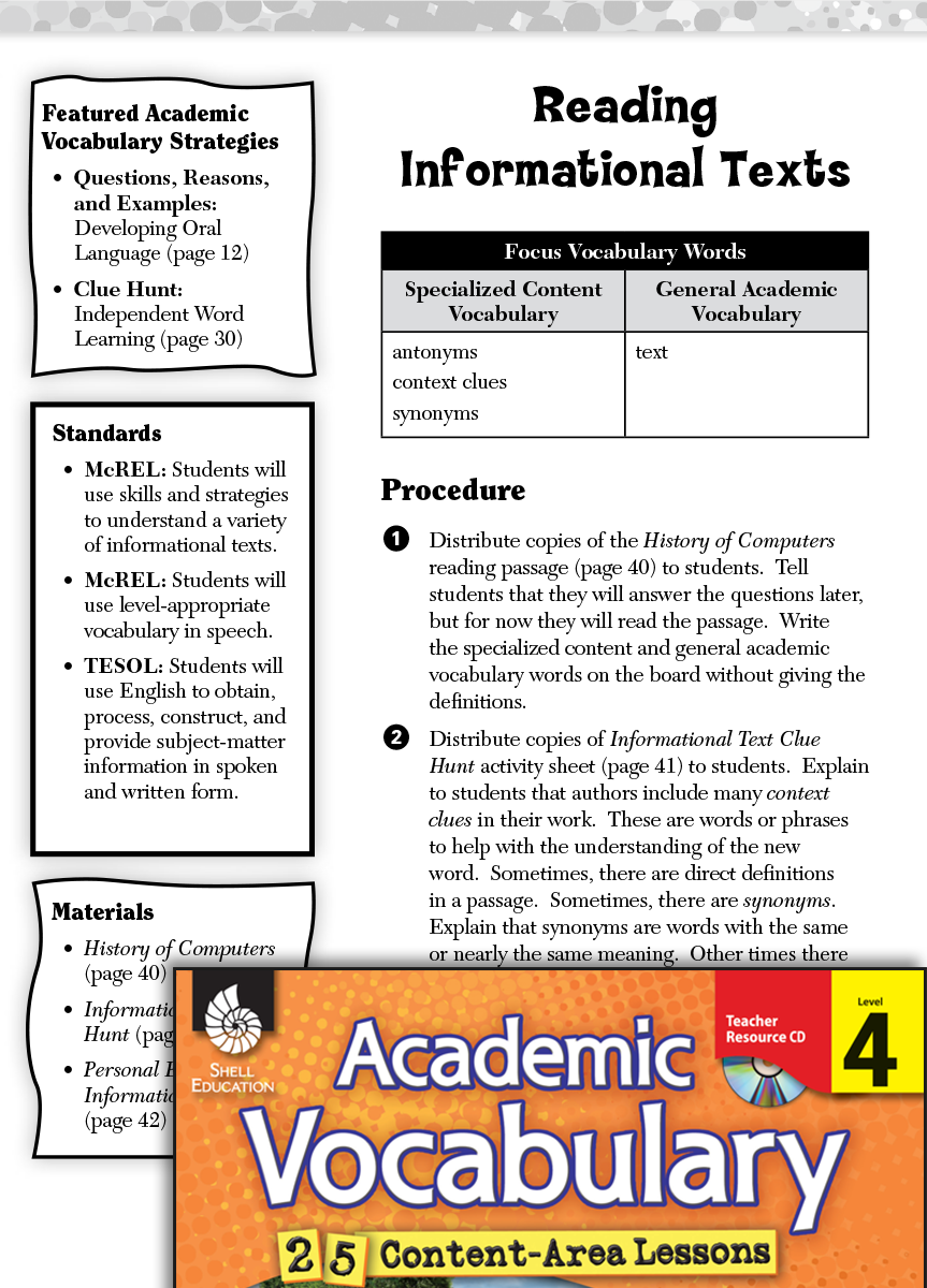 Reading Informational Texts Academic Vocabulary Level 4