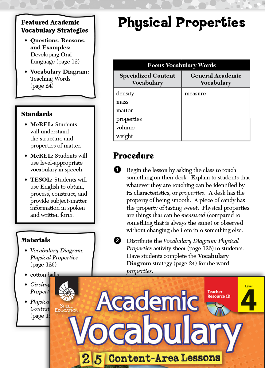 Physical Properties: Academic Vocabulary Level 4