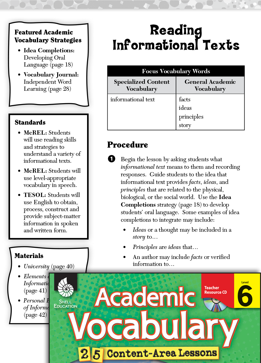 Reading Informational Texts Academic Vocabulary Level 6