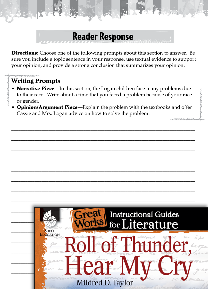 essay questions on roll of thunder hear my cry Choose the questions to which you roll of thunder, hear my cry roll of thunder, hear my cry roll of thunder, hear my cry response journal roll.