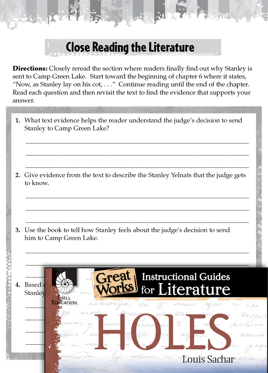 Holes Close Reading and Text-Dependent Questions
