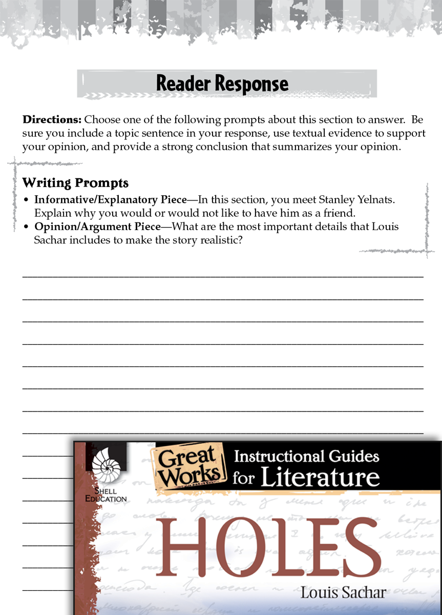 Worksheets Holes Worksheets holes reader response writing prompts teachers classroom resources