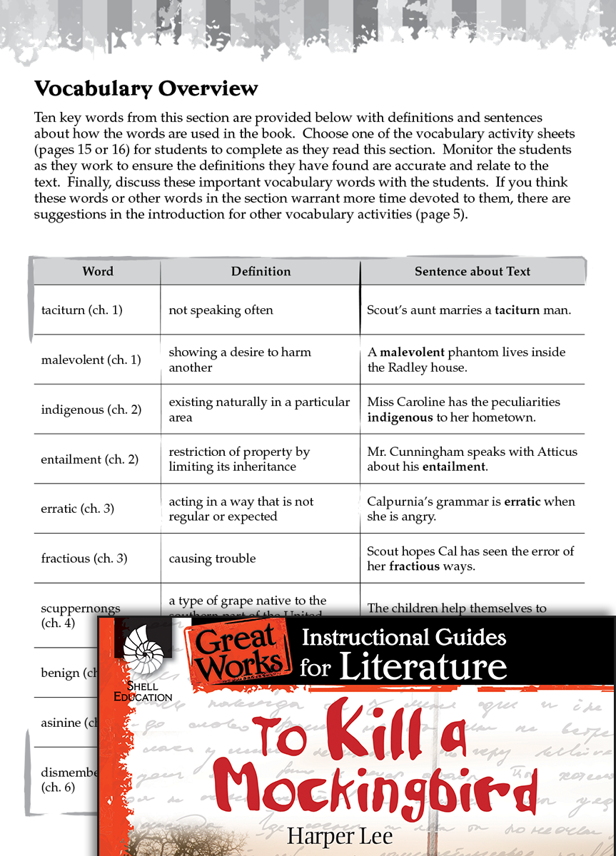 To Kill a Mockingbird Vocabulary Activities – To Kill a Mockingbird Vocabulary Worksheet