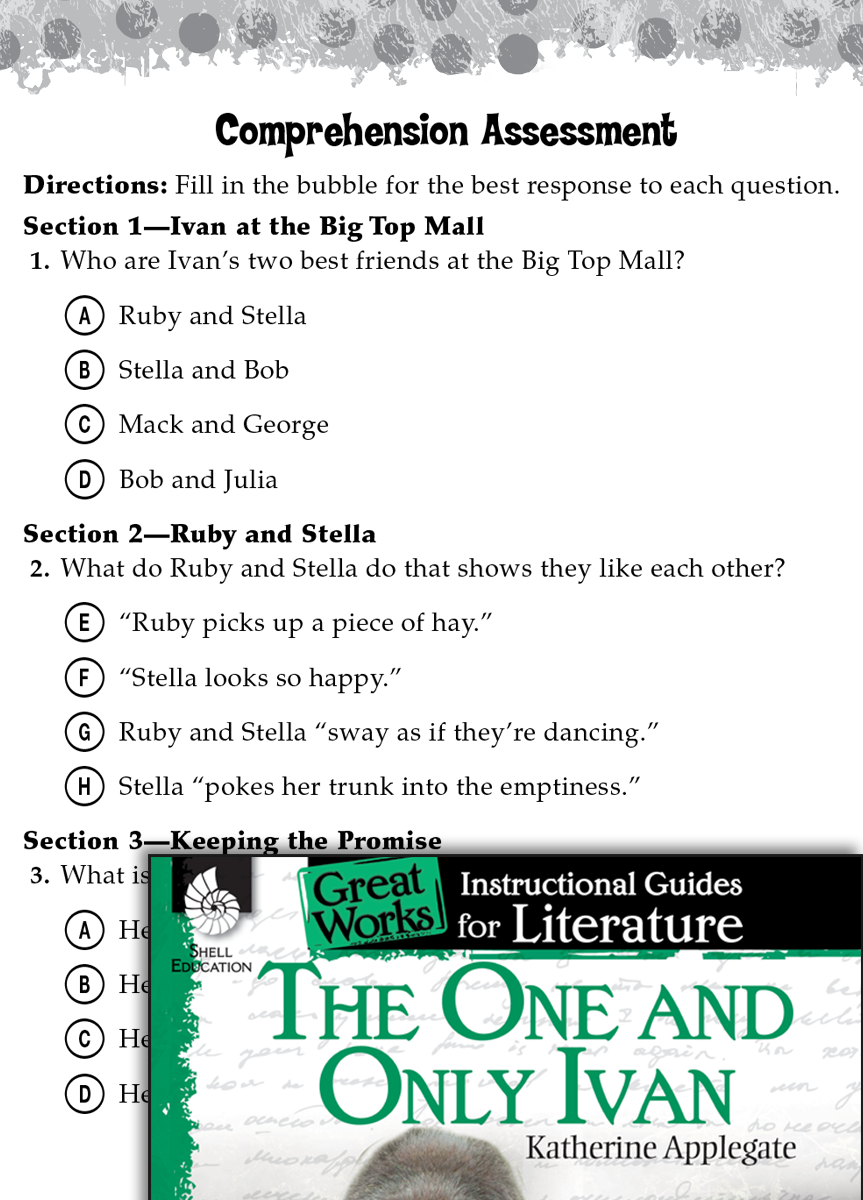 Workbooks worksheets for grade 4 social studies : The One and Only Ivan Comprehension Assessment | Teachers ...