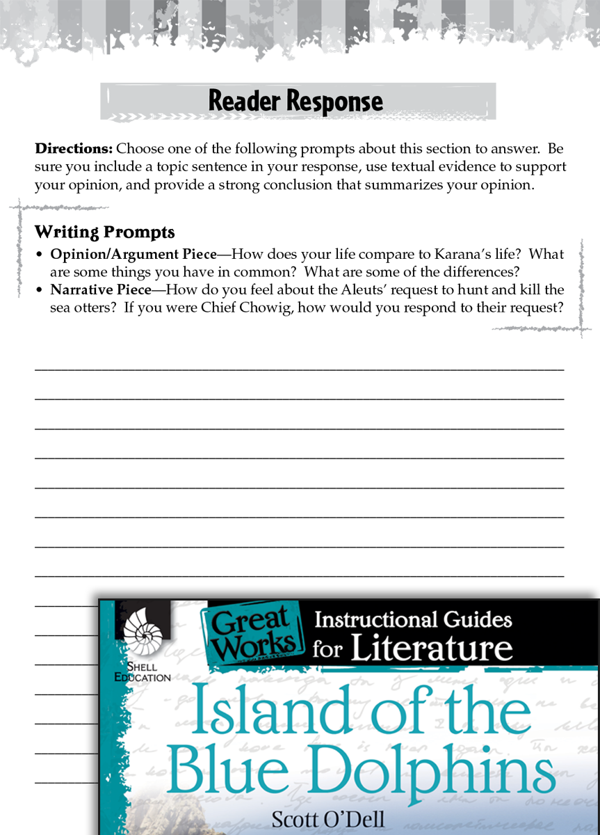 Uncategorized Island Of The Blue Dolphins Worksheets island of the blue dolphins reader response writing prompts teachers classroom resources