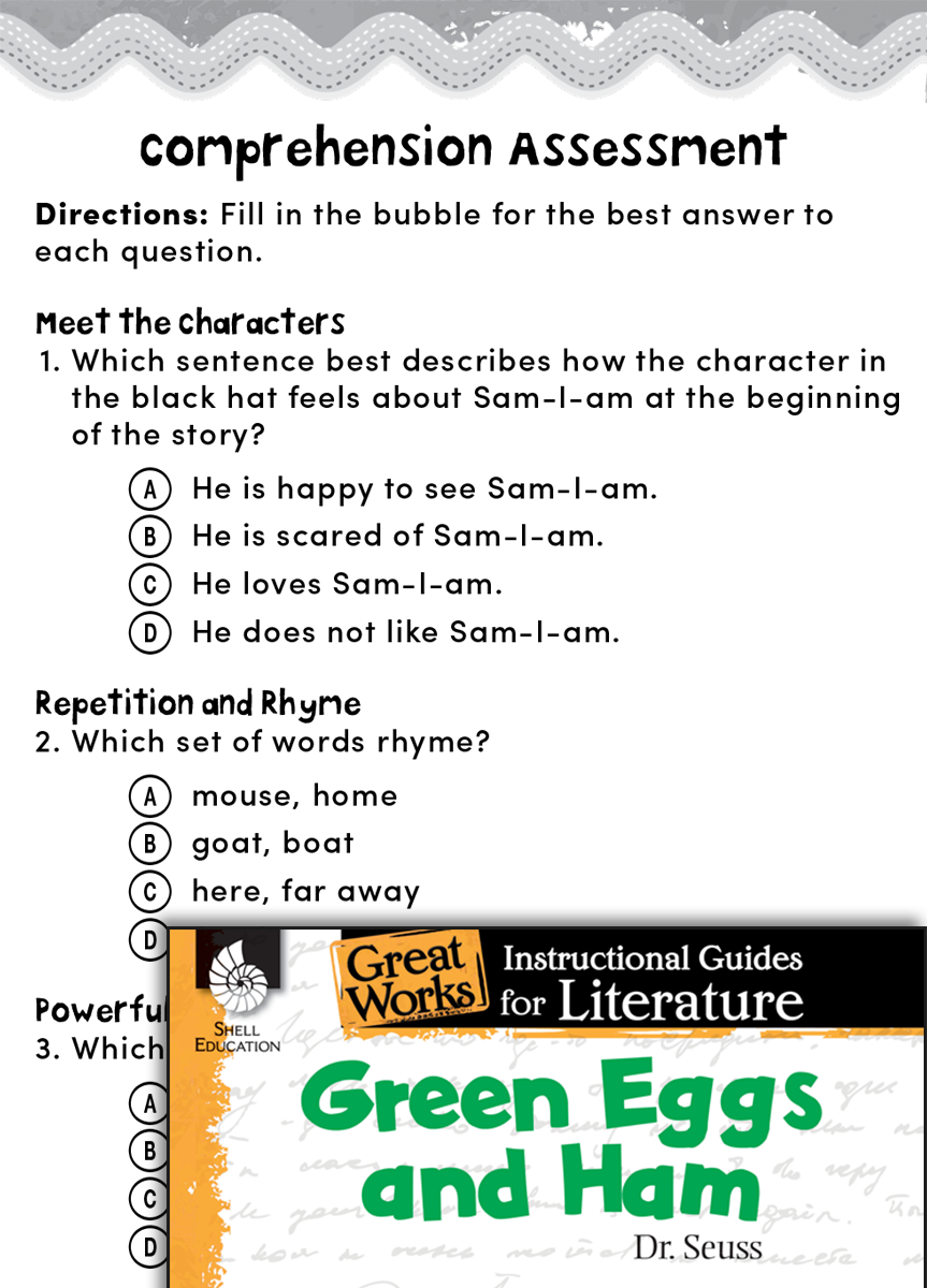 worksheet Green Eggs And Ham Worksheet green eggs and ham comprehension assessment teachers classroom resources