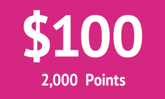$100 = 2000 points