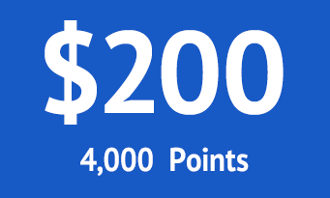 $200 = 4000 points