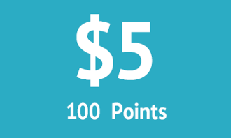 $5 = 100 points
