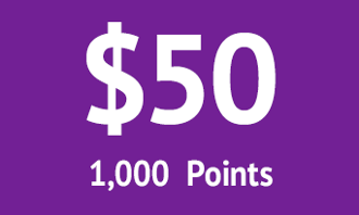 $50 = 1000 points